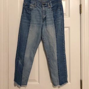 American Eagle Outfitters Two Tone Raw Hem Jeans